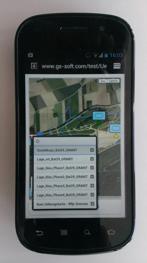 Military Map Export on Android Mobile Phone